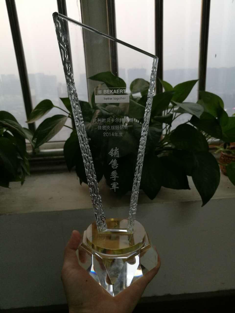 迪乐堡获得2014年佳密克丝钢纤维销售季军